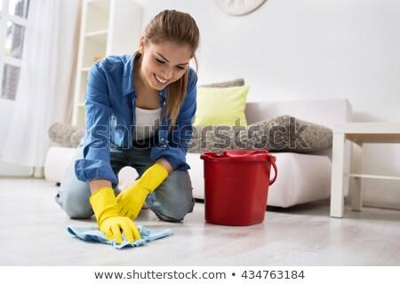 kobieta · czyszczenia · piętrze · uśmiechnięta · kobieta · odizolowany · biały - zdjęcia stock © smithore