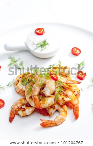 grilled prawns with dip of garlic chilli and dill stock photo © phbcz