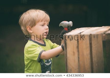 Ragazzo martello chiodo piccolo ragazzi bambino Foto d'archivio © Elegies