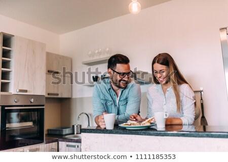 Foto stock: Casal · café · da · manhã · casa · mulher · homem · café