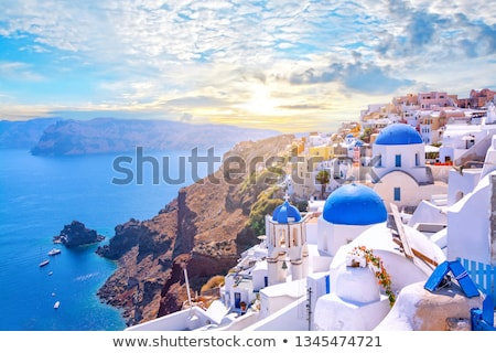 Fira and Santorini islands, Greece Stock photo © Elenarts