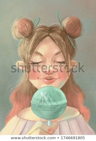 jasne · dziewczyna · różowy · włosy · lizak - zdjęcia stock © elisanth