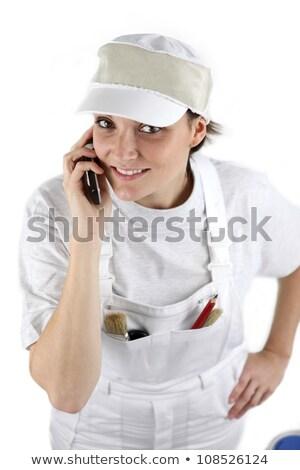 peintre · parler · client · maison · téléphone · homme - photo stock © photography33