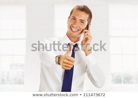 ビジネスマン · 電話 · カットアウト · 画像 · 小さな - ストックフォト © feedough