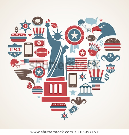 Zdjęcia stock: New York Love - Heart Shape With Many Vector Icons