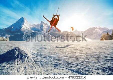 Сток-фото: лыжных · заморожены · озеро · солнце · снега · мужчин