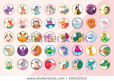 The set of the stamps of the animals Stock photo © perysty