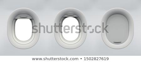 Сток-фото: самолет · окна · ярко · синий · видимый · можете