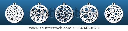 Christmas ingesteld glas sneeuwvlokken ornament Stockfoto © fixer00