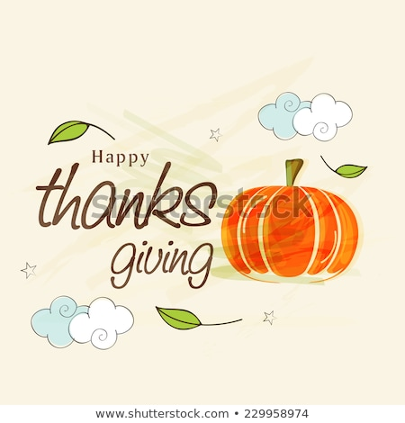 thanksgiving day card with pumpkins and cloud for message stock photo © loopall