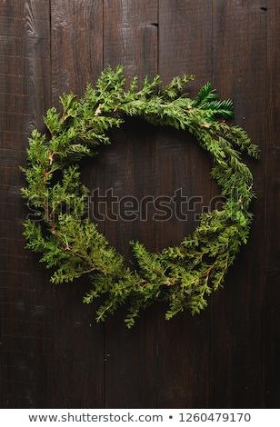休日 · 花輪 · 赤 · センター · 緑 · 装飾された - ストックフォト © LynneAlbright