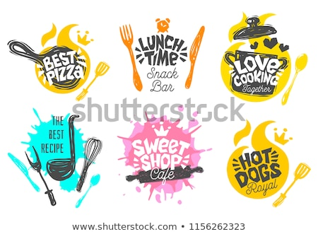 Fast food restaurant logo set stock photo © thecorner