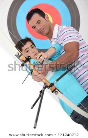 отцом сына стрельба из лука Футбол счастливым мальчика отец Сток-фото © photography33