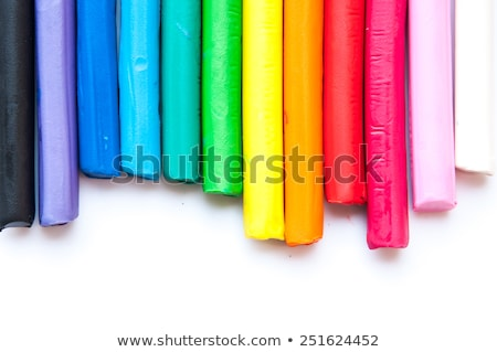 Rainbow colors plasticine play dough modeling clay isolated over white. Stock photo © latent
