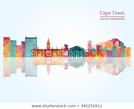Cape Town, South Africa skyline. Detailed vector silhouette Stock photo © Yurkaimmortal