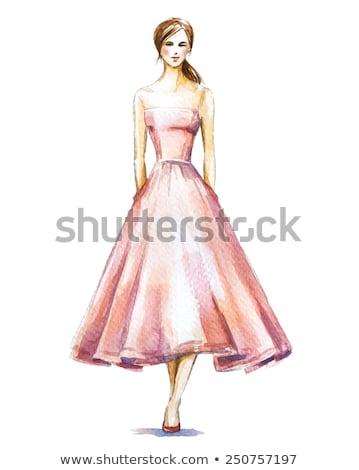 Mulher agitar-se vestir belo mulher jovem elegante Foto stock © carlodapino