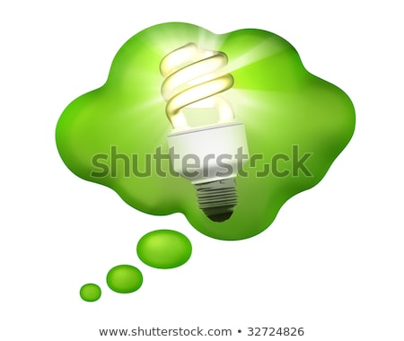 Stock photo: Compact Fluorescent Bulb In A Thought Bubble