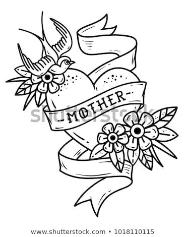 Сток-фото: сердце · татуировка · эмблема · цветок · весны · закрывается