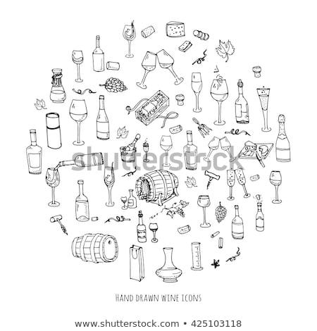 Dessinés à la main vin magnifique design Photo stock © jeremywhat