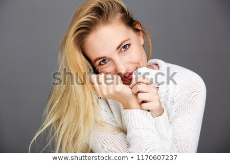 heerful blonde in sweater stock photo © acidgrey