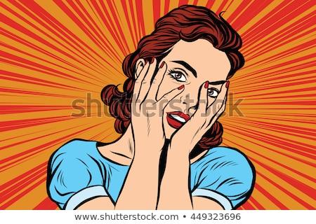 両手で彼女の口を覆っている若い女性のクローズアップ ストックフォト © studiostoks