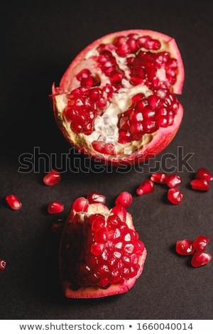 ザクロ · フルーツ · 葉 · 黒 · 食品 - ストックフォト © stevanovicigor