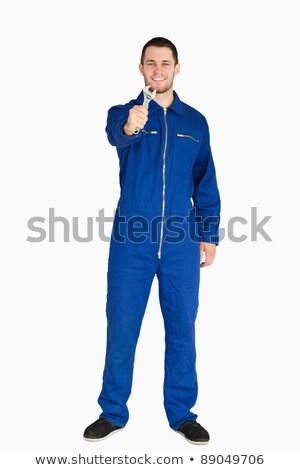 笑みを浮かべて 小さな メカニック スーツ レンチ ストックフォト © wavebreak_media