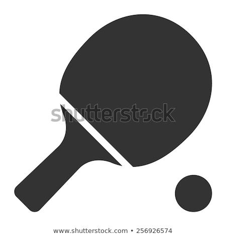 Stock photo: pingpong paddle and ball