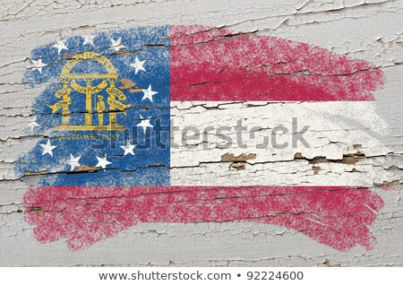 Flag Of Georgia On Grunge Wooden Texture Painted With Chalk Foto stock © vepar5