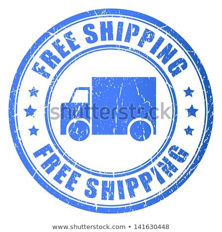 Gratis verzending vrachtwagen teken Blauw knop 3D Stockfoto © marinini
