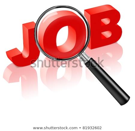 Foto stock: Ncontre · um · emprego · - · Lupa · em · palavras