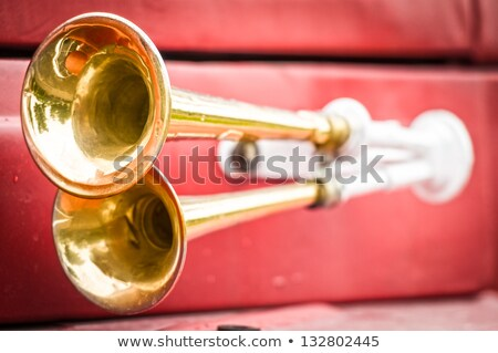 Two shiny metal horns on firefighter car. Stock photo © kyolshin