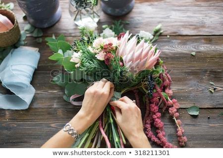 Geel · orchidee · arrangement · plastic · bloempot · witte - stockfoto © smuki