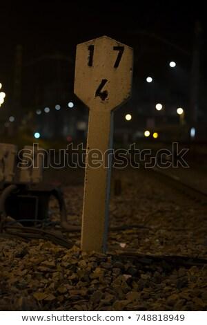 железная дорога км указатель закат движения Сток-фото © ABBPhoto