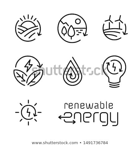 Energii ze źródeł odnawialnych ikona wiatr elektrownia trawy wiosną Zdjęcia stock © WaD