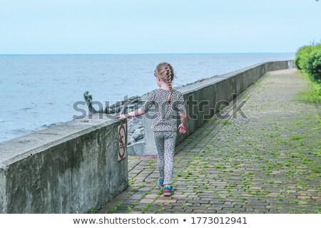 Danger! No walking sign on the rocky sea coast Stock photo © digitalr