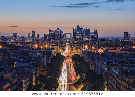 La Defense and Champs-Elysees at sunset in Paris, France. Stock photo © photocreo