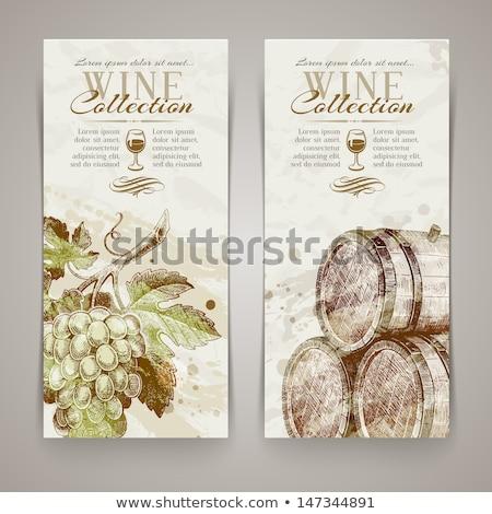 vin · vigne · décoratif · design · bouteille · verre - photo stock © carodi