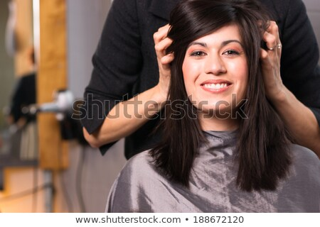 Stock photo: woman in hairdresser shop blow drying long hair