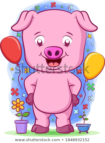 Standing Piglet And Balloons Stock photo © derocz