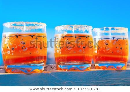 Pfirsich Glas Gericht isoliert weiß Essen Stock foto © gavran333