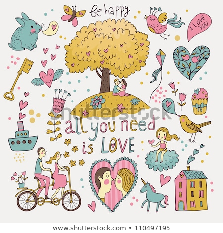 heart tree with birds and bicycle, vector Stock photo © beaubelle