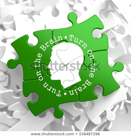 draaien · hersenen · puzzel · geschreven · menselijke · hoofd - stockfoto © tashatuvango