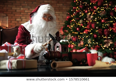 karácsony · dekoráció · mikulás · szobrocska · zöld · labda - stock fotó © hasloo
