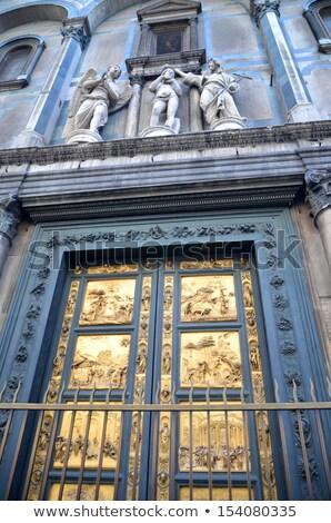 подробность бронзовый двери Флоренция Италия здании Сток-фото © pixachi