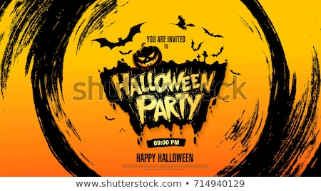 halloween party colorful card vector illustration design stock photo © bharat