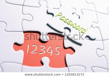 online banking concept on orange puzzle stock photo © tashatuvango