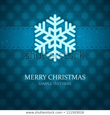 old paper blue and white snowflakes frame stock photo © cherju