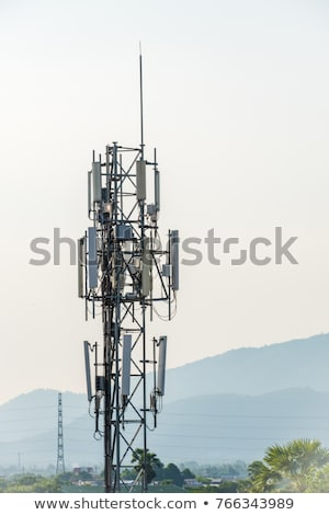 Communication antenna tower in the high mountains Stock photo © CaptureLight
