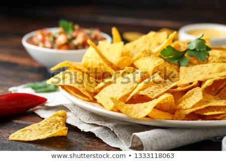 maíz · nachos · tomate · salsa · caliente · comer - foto stock © juniart
